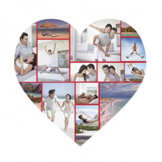 white heart collage canvas 12 images